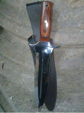 Sheath knife of kill off from wood of hazel 24cm