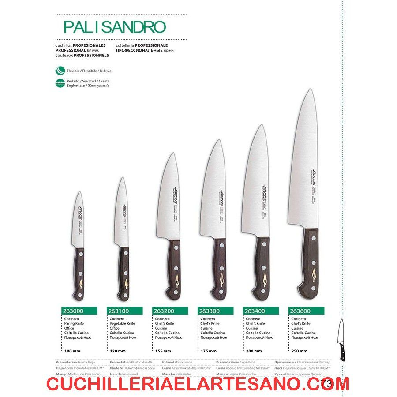 Cuchillo de cocina palisandro de arcos cuchilleria el artesano - Cuchillos de cocina arcos ...