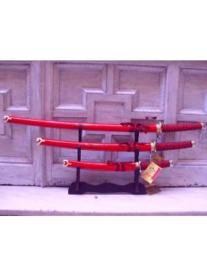 Set of 3 katanas red