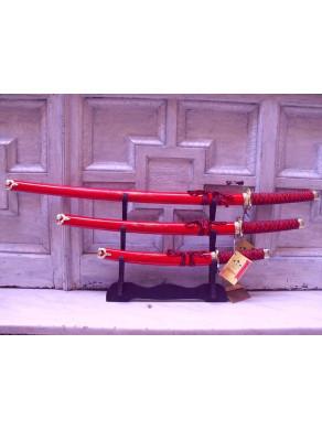 Set de 3 katanas rojas