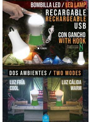 NOVEDAD LAMPARA BOMBILLA LED RECARGABLE CON GANCHO USB