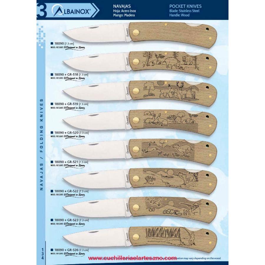 navajas de madera  con dibujos