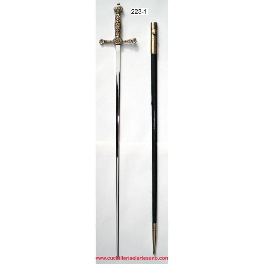 Espadín con vaina metálica forrada 223-1